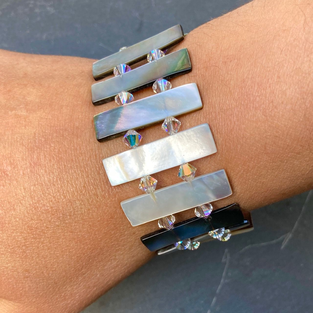 Black Mother of Pearl & Swarovski Crystal Reversible Bracelet WAS £28 MB01-S