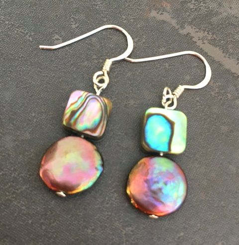 Earrings - Paua Squares & Peacock Freshwater Pearl Coins - PE02-CPPQ