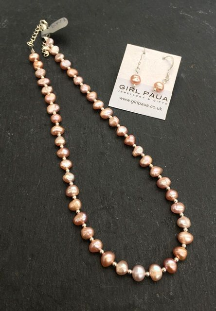 Freshwater Pink Pearl & Silver Bead Necklace & Earring SET FN03-PK