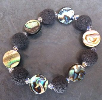 Paua, Lava Rock and Swarovski Crystal Bracelet WAS £20 PB21